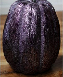 13 Inch Purple Glittered Pumpkin