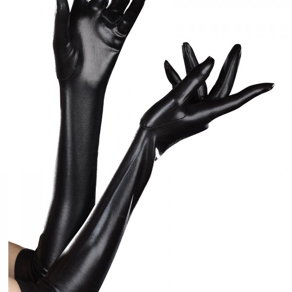 Black wet look gloves