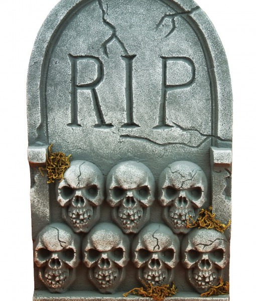 RIP Tombstone with Skulls