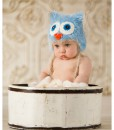 Infant Blue Yarn Owl Hat