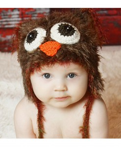 Infant Brown Yarn Owl Hat