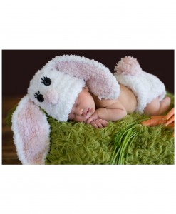 Infant White Bunny Hat and Diaper Cover