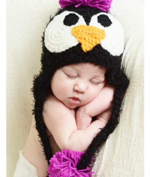 Infant Black Feather Penguin Hat with Pink Accents