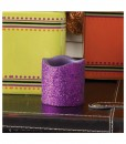 2 Inch Purple Glitter LED Candle