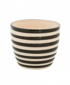 5.5 Inch Black and White Ceramic Striped Pot