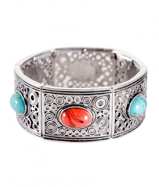 Turquoise and Coral Stone Silver Bracelet