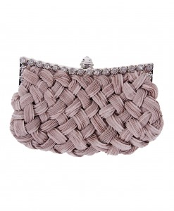 Taupe Braided Chiffon Bag with Long Chain