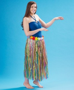 Adult 36 Artificial Multi-Color Grass Hula Skirt with Floral Waistband