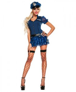 Blue Sequin Cop Adult Costume