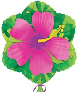 Pink Hibiscus Flower Shaped Foil Balloon