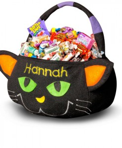 Black Cat Embroidered Plush Treat Pail