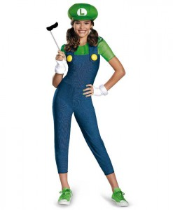 Super Mario Brothers Tween Luigi Girl Costume
