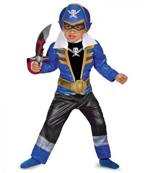 Power Ranger Super Megaforce Blue Ranger Toddler / Child Muscle Costume