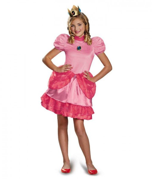 Super Mario Brothers Tween Princess Peach Costume