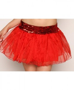 Sequin Petticoat Skirt - Red