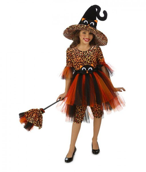 Deluxe Orange Kitty Witch Kids Costume