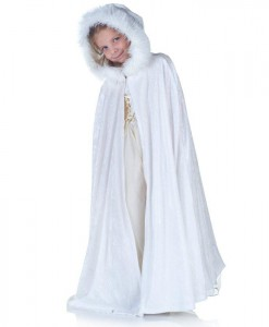 White Panne Cape with Fur Trim (Child)