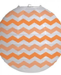 12 Round Paper Chevron Lantern - Sunkissed Orange