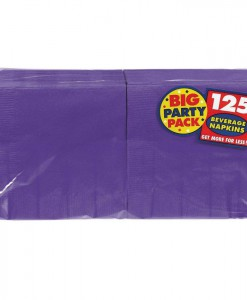 New Purple Big Party Pack - Beverage Napkins (125 count)