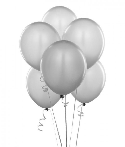 Shimmering Silver (Silver) Balloons (6 count)