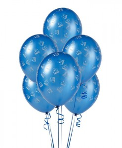 Mid Blue with Trains 11 Matte Balloons (6 count)