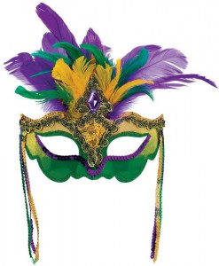 Mardi Gras Feather Venetian Mask