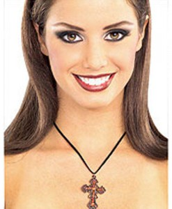 Red Gothic Cross Necklace
