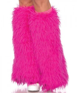 Furry Neon Pink Adult Leg Warmers