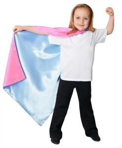 Blue / Pink Reversible Superhero Child Cape