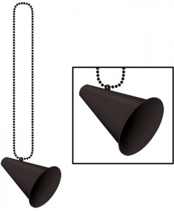 Beads with Megaphone Medallion - Black