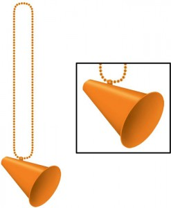 Beads with Megaphone Medallion - Orange