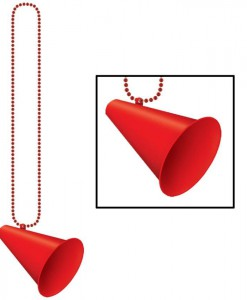 Beads with Megaphone Medallion - Red
