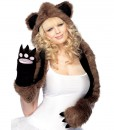 Plush Bear Hood With Paw Scarf (Adult)