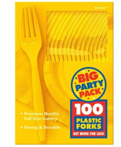 Yellow Sunshine Big Party Pack - Forks (100 count)
