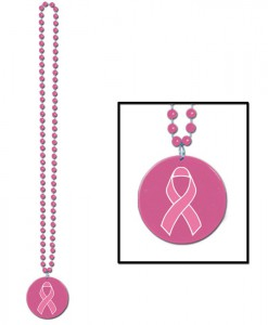 Beads with Printed Pink Ribbon Medallion (1 count)