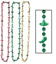 Red  Green Yellow Fiesta Bead Necklace (6 count)