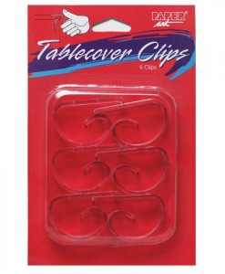 Clear Plastic Tablecover Clips (6 count)
