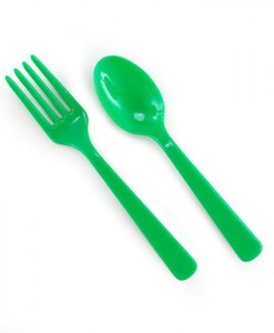 Forks Spoons - Green (8 each)