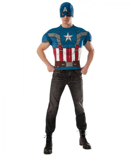 Captain America The Winter Soldier Retro Muscle Shirt Costume Kit Adult