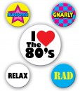 80's Party Buttons (5 count)