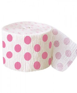 Pink and White Dots Crepe Paper