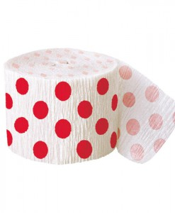 Red and White Dots Crepe Paper
