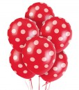 Red and White Dots Latex Balloons (6)