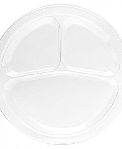 Clear Plastic Divided Dinner Plates (20 count)