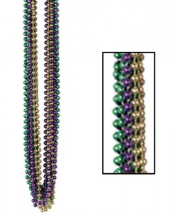 Mardi Gras Small Round Beads (12 count)