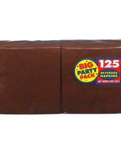 Chocolate Brown Big Party Pack - Beverage Napkins (125 count)