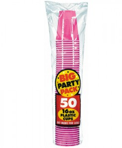 Bright Pink Big Party Pack - 16 oz. Plastic Cups (50 count)