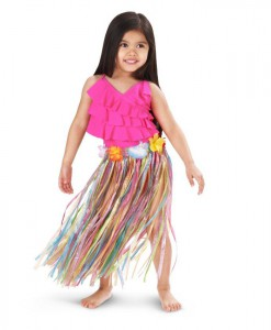Child Multi-Color Artificial Grass Hula Skirt with Floral Waistband