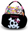 Skull Embroidered Plush Treat Pail