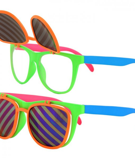 Flip Ups Neon Glasses Adult